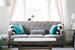 image of a grey sofa for the upholstery cleaning page
