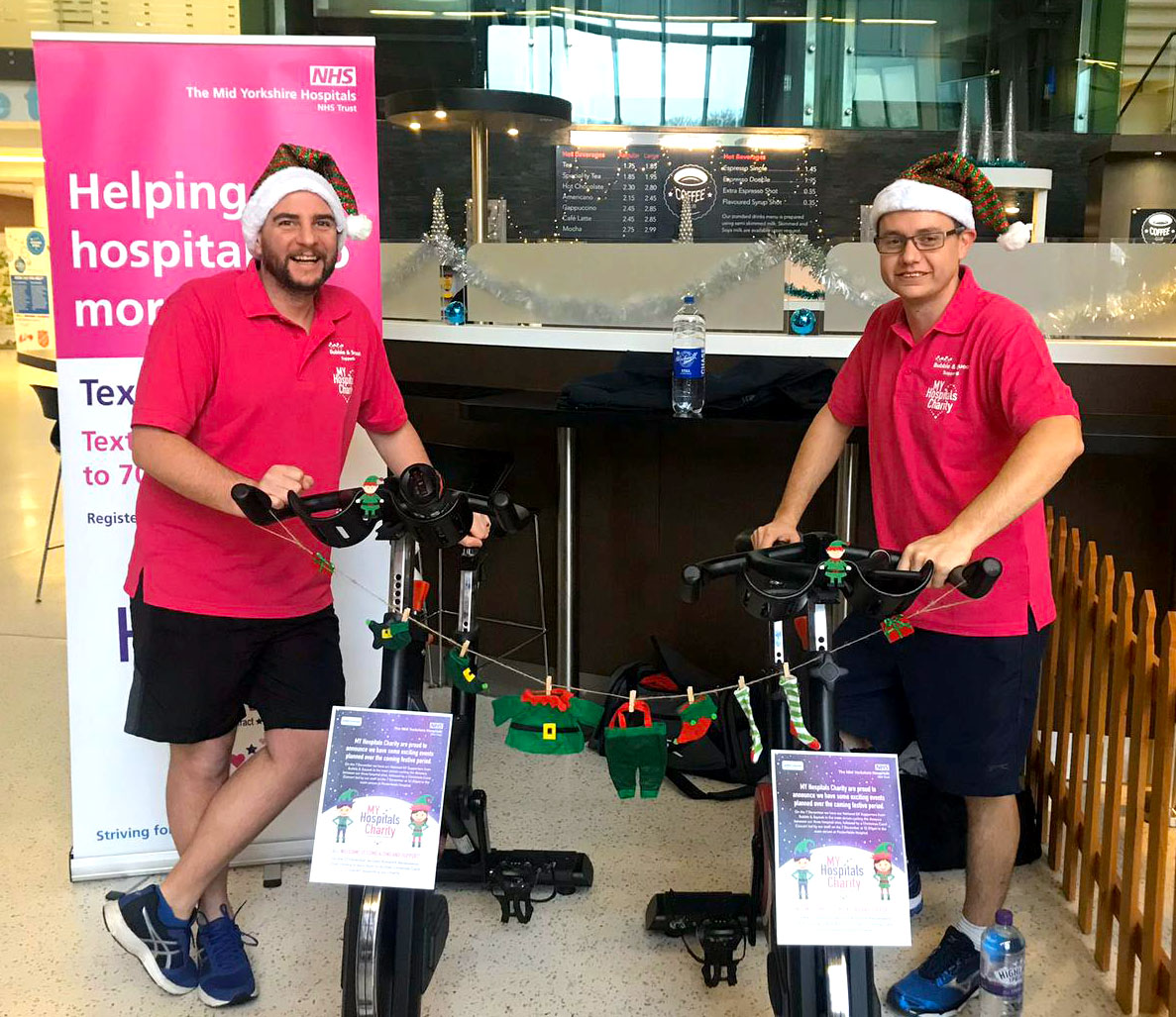 Pete & Diddy getting ready for a static bike as part of giving back page