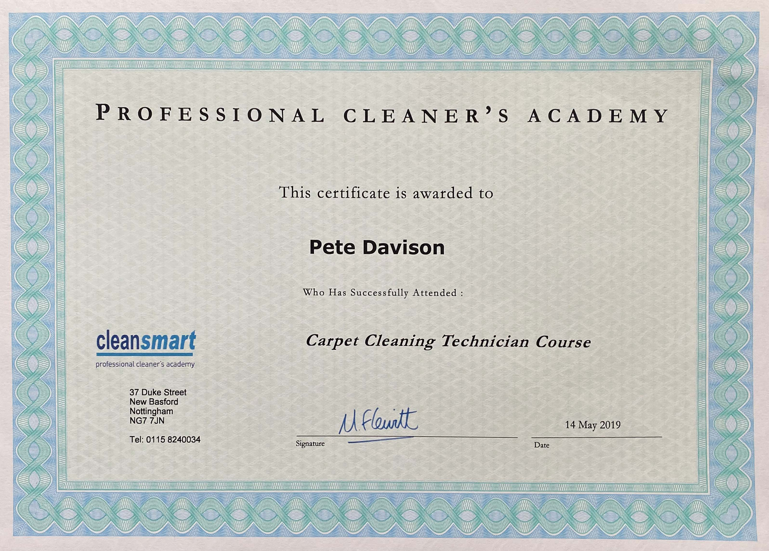 Clean smart accreditation certificate for Pete Davison