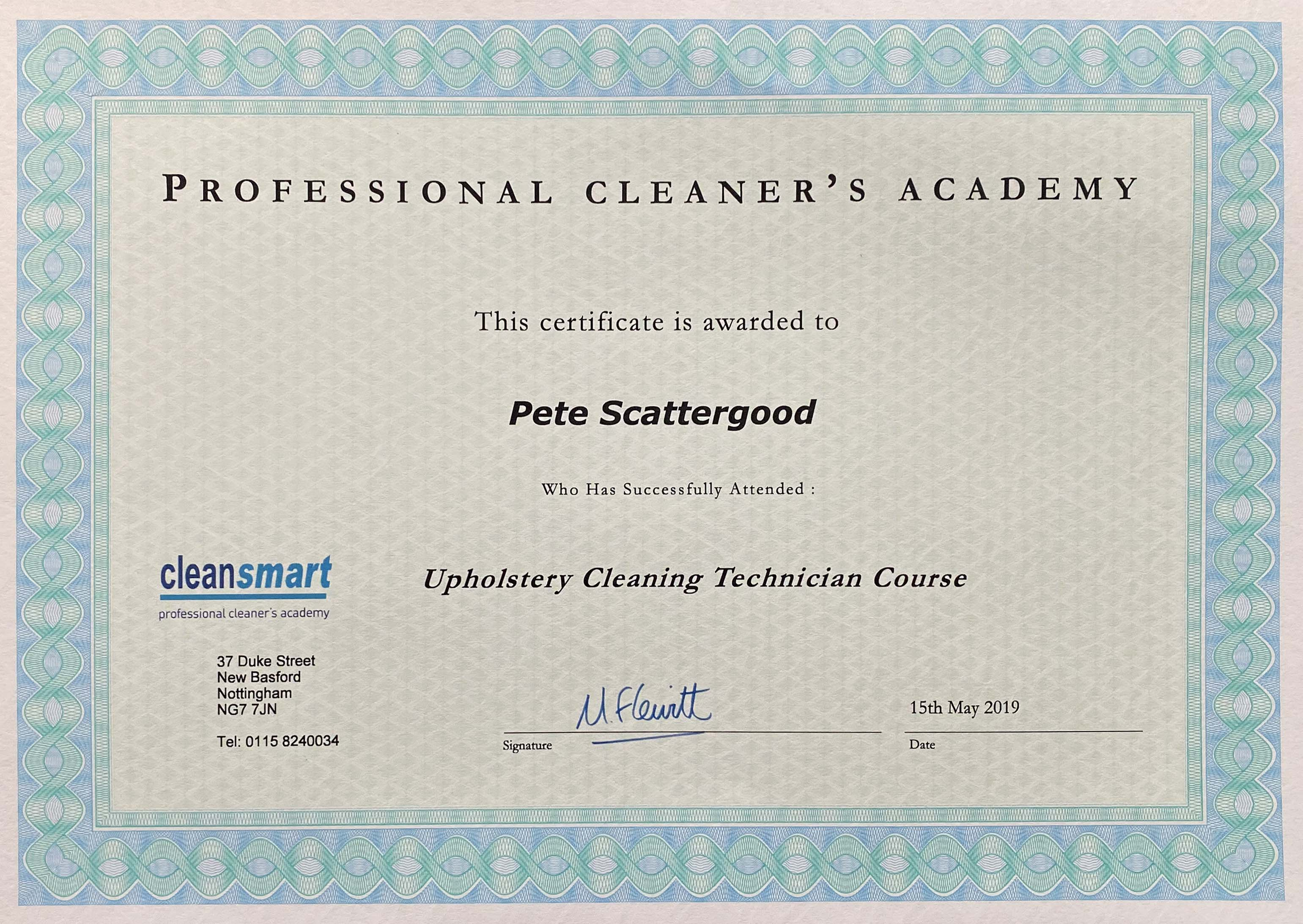 Clean smart accreditation certificate for Pete Scattergood