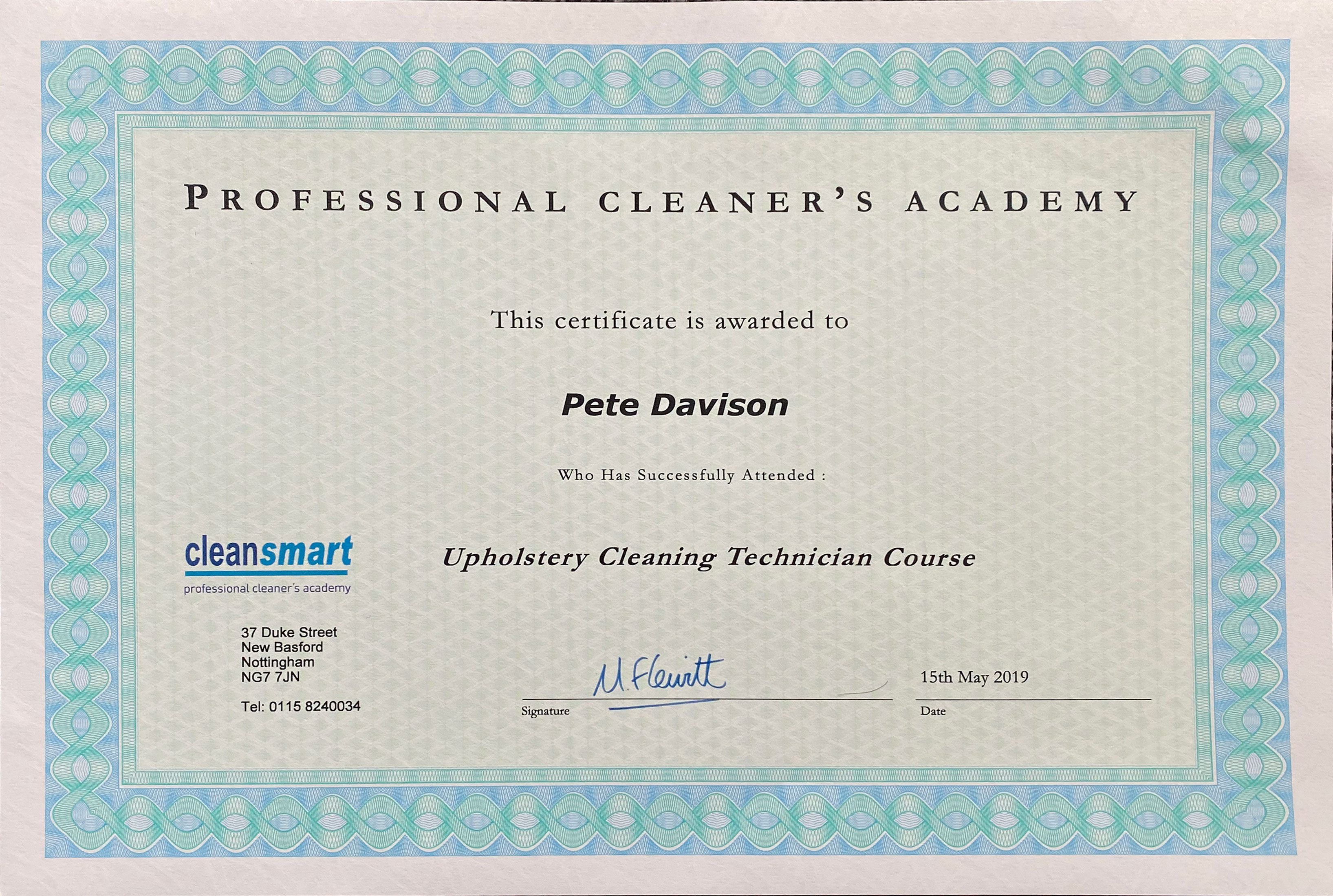 Cleansmart certificate for upholstery cleaning technicians course