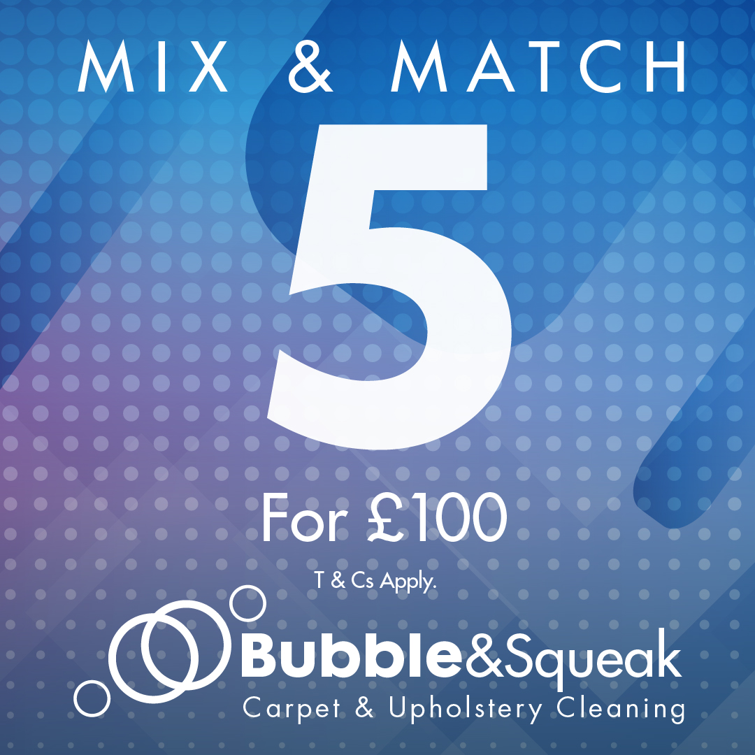 Bubble & Squeak Carpet & Upholstery Cleaning mix & match 5 for £100